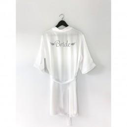 Bride Beyaz Sabahlık Gümüş Yazılı